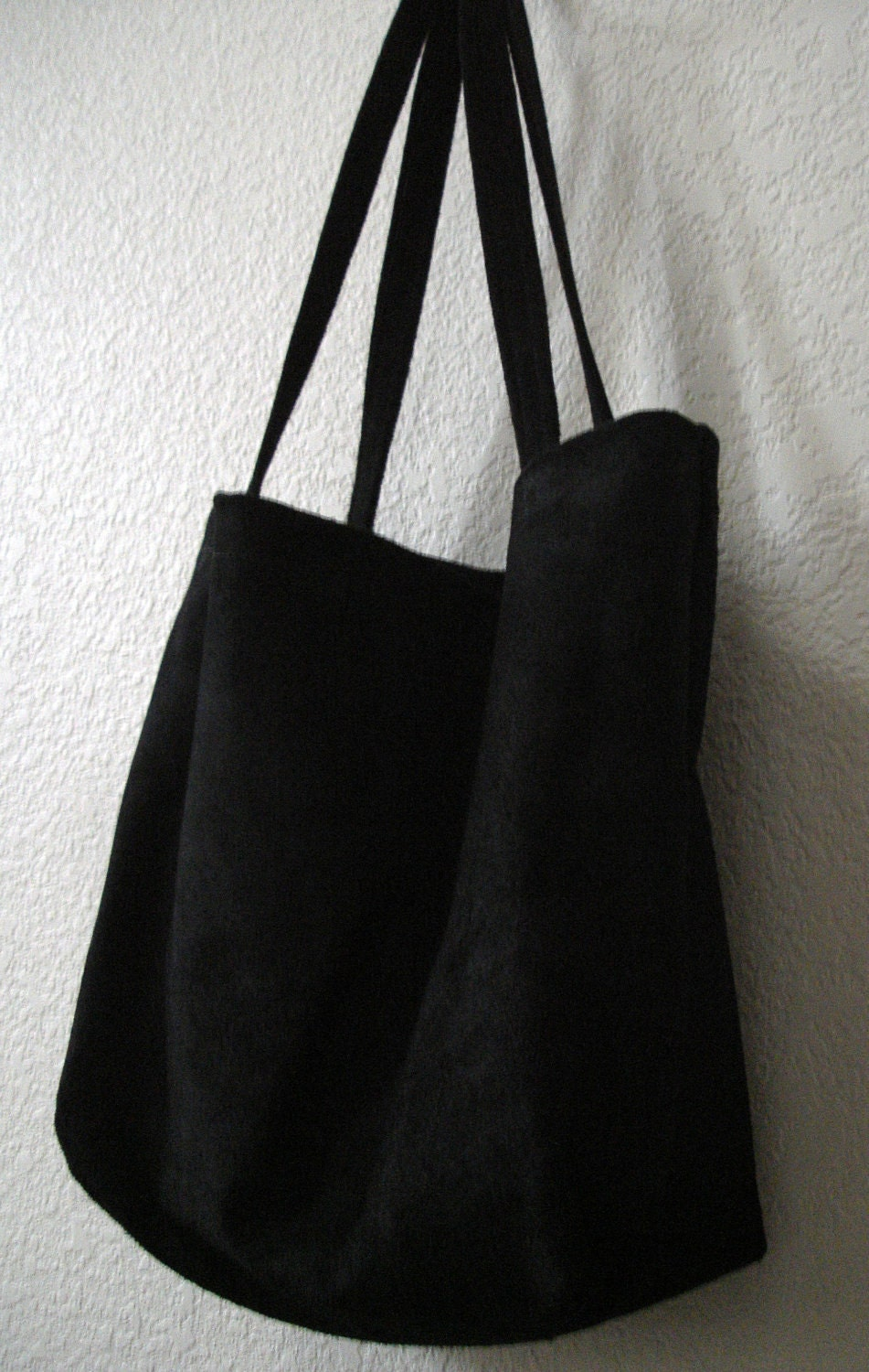 Large and sturdy Black Suede Leather Tote Bag