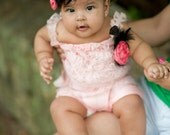 Adorable Infant Lt PinkLace Romper With Silk Flower Brooch and Headband Set FREE SHIPPING