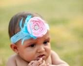 Beautiful Pink Newborn to Adult Rosette Headband with aqua feathers
