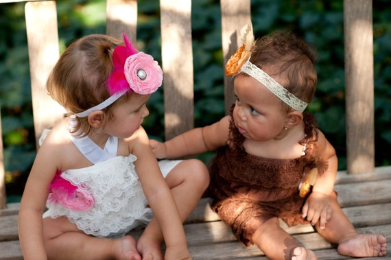 Custom Infant and Toddler Lace Romper brooch and headband set You Choose Colors FREE SHIPPING