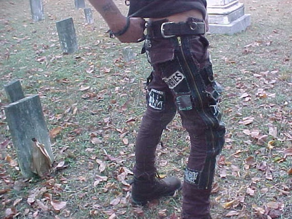 Gnarly diy side zip skinny punk patch leather pants oi steampunk