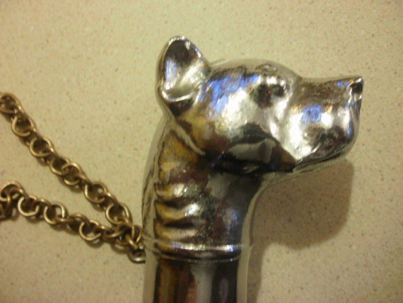 Vintage Umbrella  Steampunk  Rare Bull Dog Head handle