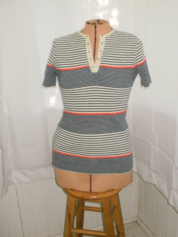 Retro 70's  Stripe Ribbed Top