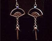 Blue Fan Earrings - Upcycled Hardware Jewelry