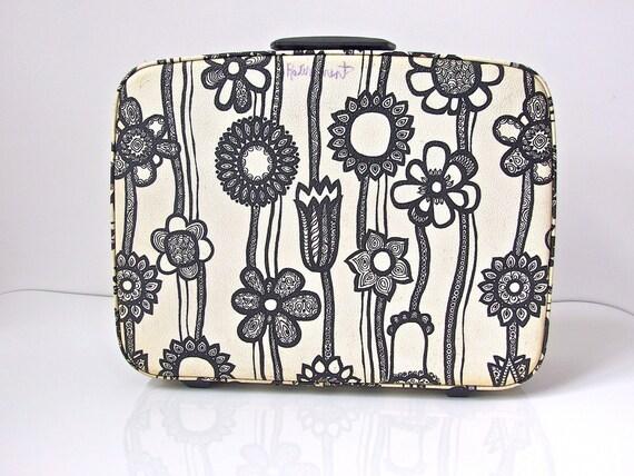 Vintage 1960s Black and White Samsonite Fashionaire Flower Suitcase
