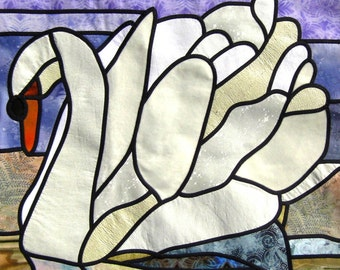 "Stain Glass Quilt Pattern ""Swan Lake"""