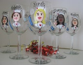 TWO Nurse Wine Glasses Aide PA  Personalized Hand Painted  Glasses Professions