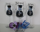 Bridesmaid Wine Glass Hand Painted Bridal Party Personalized Three Glasses