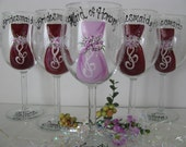 FIVE Bridesmaid  Bride Hand Painted   Glasses Wedding Bridal Personalized
