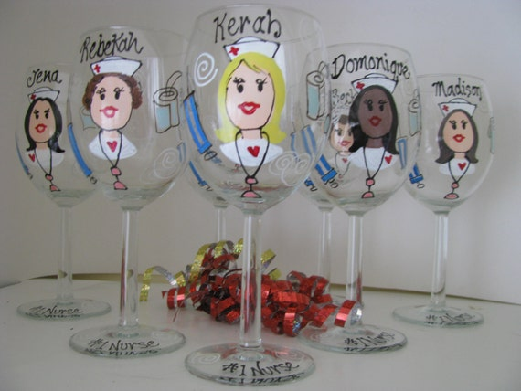 Nurse  RN Wine Glass Personalized Hand Painted  Glasses Doctor PA