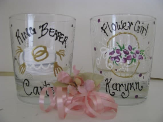 PAIR of  Wedding Glasses Ring Bearer Flower Girl  Hand painted Personalized