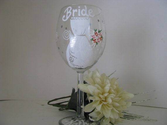 Bride  BridesmaidHand Painted Personalized  Wine Glass Wedding glasses