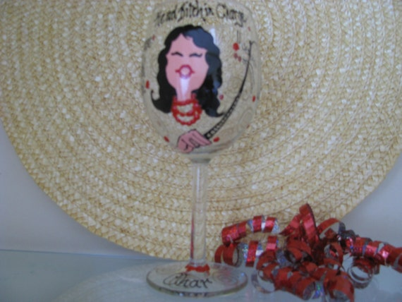Boss  Painted Wine Glass Owner  Manager Personalized Handpainted Glasses Gift