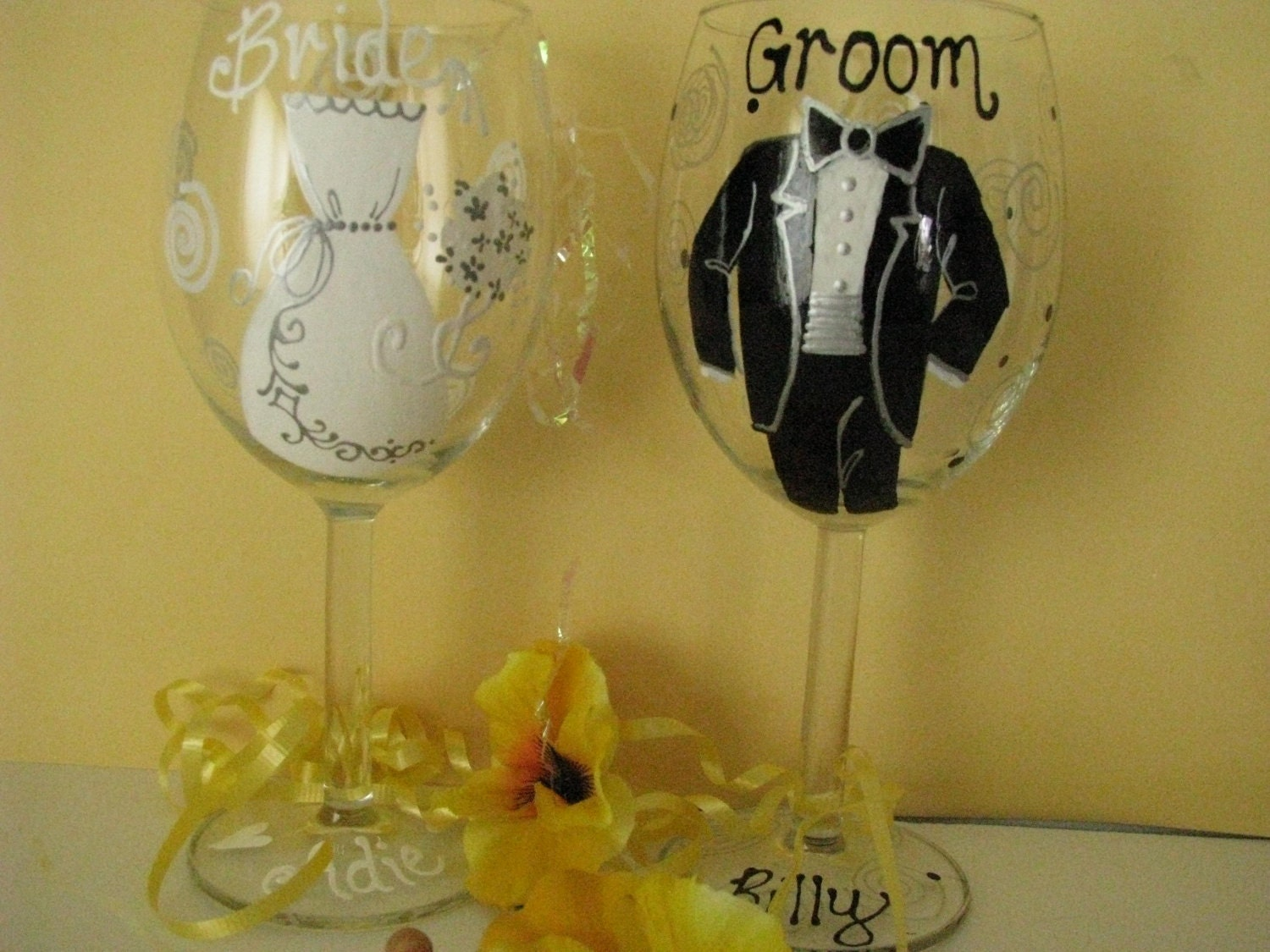 Similar to wedding wine glasses hand painted personalized on etsy