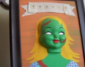 RESERVED Zombie Girl Handpainted Doll Face Framed 3D Painting