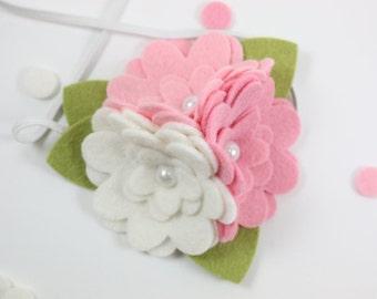 Pink White Daisy - Felt Flower Headband - Spring Headband - Newborn Girl - Baby Headbands - Toddler Headband - Girls