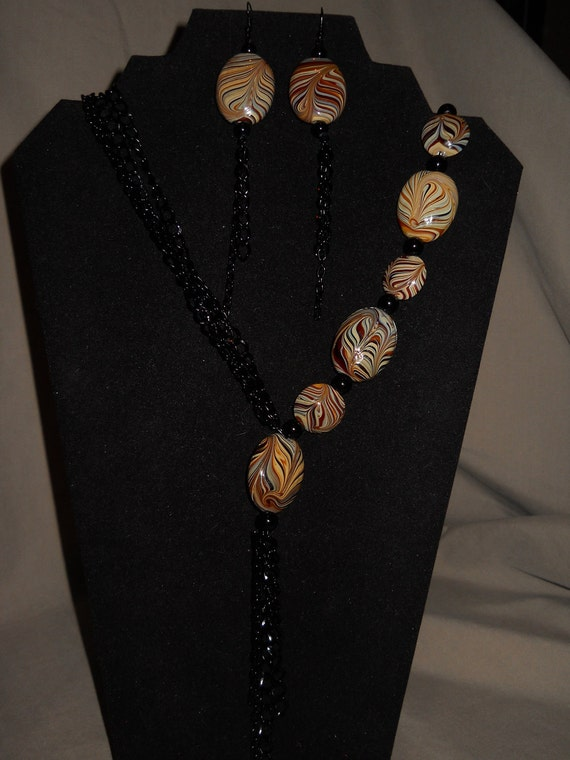 Necklace Black Chain and Brown Multi Stones