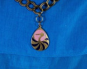 Swan Lake Sunset Double link Long Brass Chain w/ vintage Pink  Blue and Gold Tear Drop Cloisonne Swan Pendant