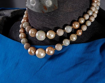 1960's Double stranded Graduated Faux Pearls Brown Golden Orange and Creamy White Renovated clasp