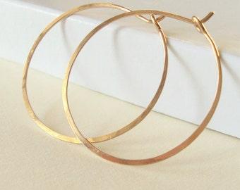 Gold Hoop Earrings, Simple Hammered hoops 1 1/4 inch