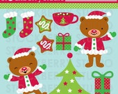 Christmas Teddy Bear Personal and Commerical Use Clipart Set