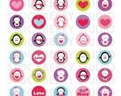 Valentine Penguins Digital 1 inch Collage Sheet