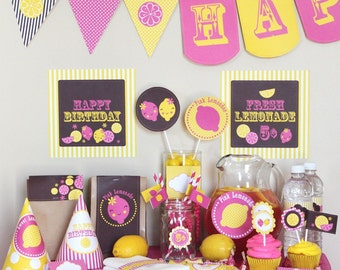 Pink Lemonade Birthday Party Decorations - Instant Download - Pink Lemonade Party - Lemonade Birthday - Pink and Yellow Girl Birthday Party