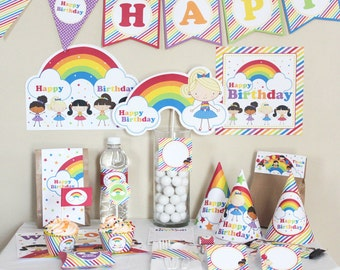 Rainbow Birthday Decorations - Rainbow Birthday Party Decorations - Rainbow Party - Rainbow 1st Birthday Party - Rainbow Party Printable