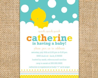 Rubber Ducky Baby Shower Invitations Printable - gender neutral baby shower invitations - Yellow Baby Shower - Duck Baby Shower Invites
