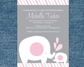 Girl Elephant Baby Shower Invitation Printable - Pink and Gray Baby Shower Invitation - pink and gray elephant baby shower invitation
