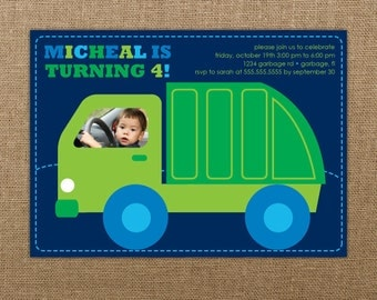 Garbage Truck Birthday Invitation Printable - Boy Birthday Invitation - Boy First Birthday Invitation - Garbage Truck Party - Truck Invites