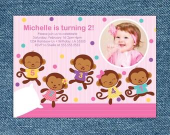 Girl Monkey Birthday Invitation Printable - Five Little Monkeys Jumping On The Bed - Girl 1st Birthday Invite - Jump Party - Pink Birthday