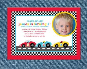 Race Car Birthday Invitation Printable - Race Car Party - Race Car Birthday Party - Race Car Invitation - Boy 2nd Birthday Invitation