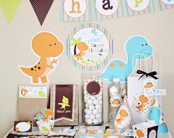 Dinosaur Birthday Party Decorations Printable - Instant Download - T rex Birthday Party - Dinosaur Party Supplies - Dinosaur Party Package