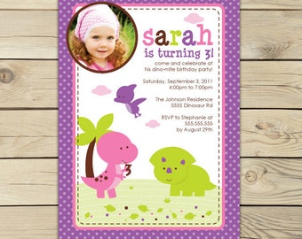Girl Dinosaur Birthday Invitation Printable - Pink Dinosaur Party - Girl Dinosaur Invitation - Girl Dinosaur Party - Girl 1st Birthday