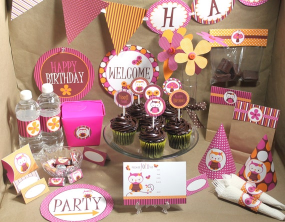 Owl Birthday Decorations - Printable Party - Instant Download - Girl Birthday Party - Pink and Orange Birthday - Girl Owl Baby Shower