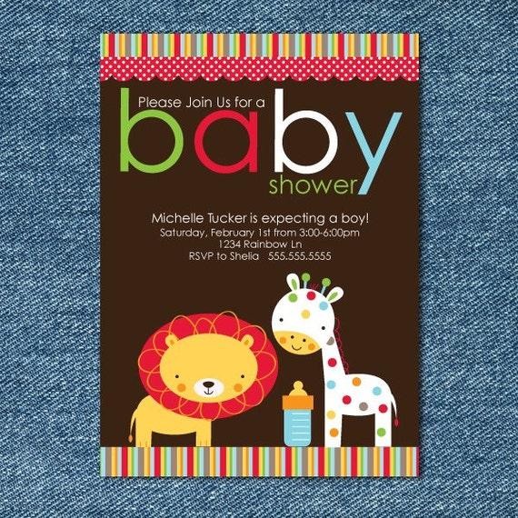 Giraffe Lion Baby Shower Invitation - Zoo Baby Shower Invites Printable - Boy Baby Shower Invitations - Blue Red Yellow Orange Brown