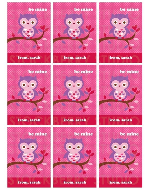 Owl Valentine's Day Card Printable - Personalized Kids Valentine Greeting Card - Valentines Day Cards for Kids - Valentine Printables Pink