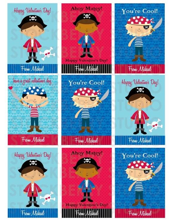 Pirate Valentine's Day Card Personalized Printable - Boy Valentine Kids Classroom Card - Valentines Day Cards - Valentine Cards for Kids
