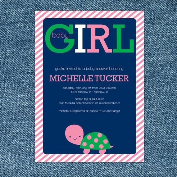 Turtle Baby Shower Invitation Printable - Pink and Navy Baby Shower - Girl Baby Shower Invites - Turtle Invitations - Shower Invitations