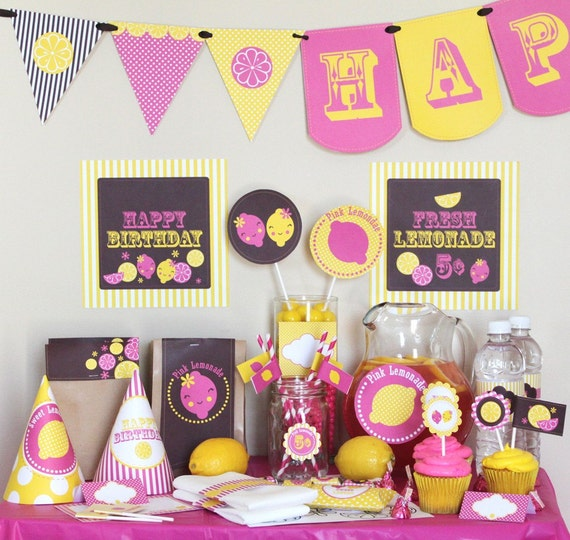 Pink Lemonade Birthday Party Decorations Instant Download