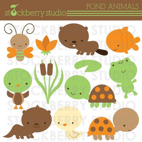 Items similar to frog and turtle clipart set pond for Pond animals