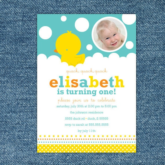 Rubber Ducky Birthday Invitation Printable Rubber Ducky 1st – Rubber Duck Birthday Invitations