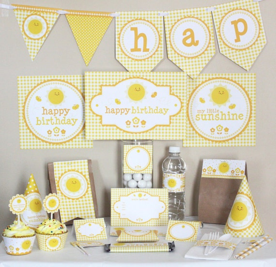 You Are My Sunshine Party Decorations Printable - You Are My Sunshine Birthday Decorations - Instant Download - Yellow Party Decorations