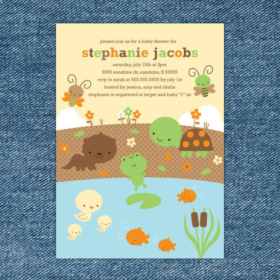 Turtle Baby Shower Invitation Printable - Boy Frog Baby Shower Invite - Woodland Baby Shower Invitation - Turtle Invitations - Frog Invites