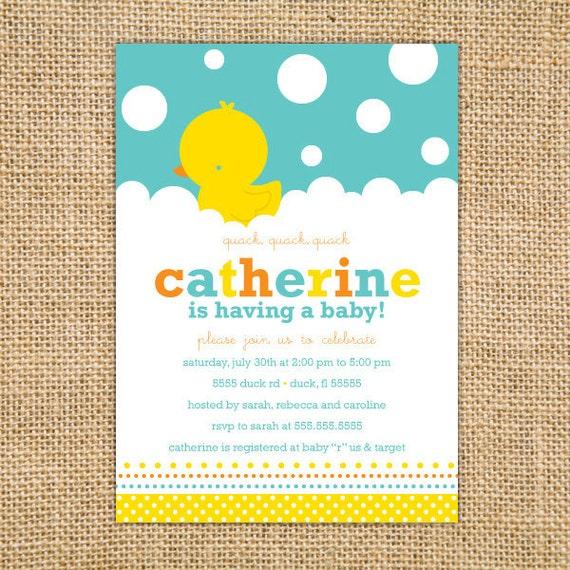 Rubber Ducky Baby Shower Invitation Printable - Duck Invitation - Yellow Aqua Blue - Gender Neutral Baby Shower - Baby Shower Invites