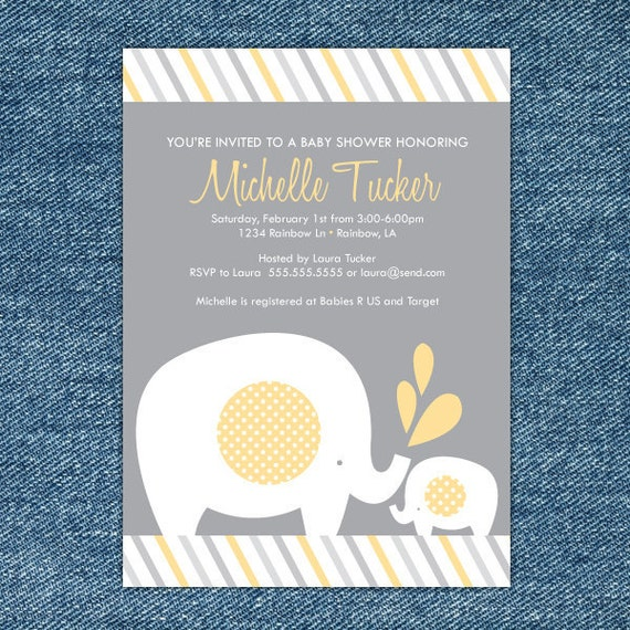 product search: elephants | catch my party, Baby shower invitations