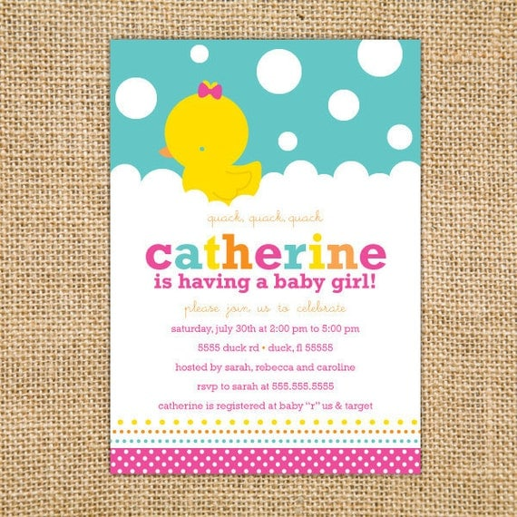 Girl Rubber Ducky Baby Shower Invitation Printable Girl Baby