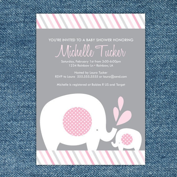 Girl Elephant Baby Shower Invitation Printable - Pink and Gray - Girl Baby Shower Invites - Elephant Invitation - Elephant Invite - Grey