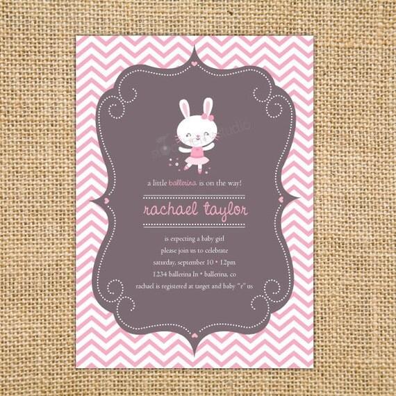bunny ballerina baby shower invitation printable girl baby, Baby shower invitations